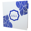 white wedding invitation with blue foil