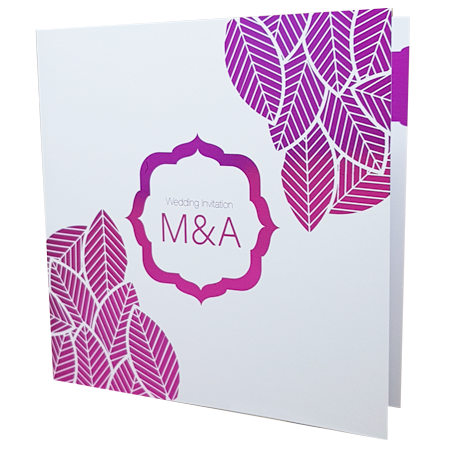Floral White Invitation with Pink Foil