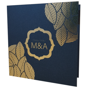 Floral King Blue Invitation with Gold Foil