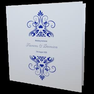 Elegant White Invitation with Blue Foil