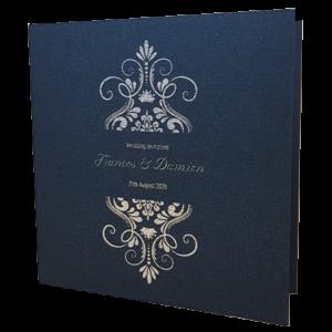 Elegant King Blue Invitation with Silver Foil