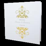 Elegant White Invitation with Gold Foil
