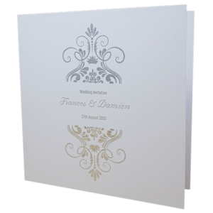Elegant Marble White Invitation with Silver Foil