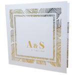 Palm Tree Classic Marble White Invite with Gold Foil