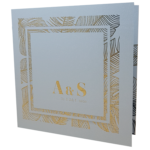 Palm Tree Luxus Real Silver Invitation with Gold Foil
