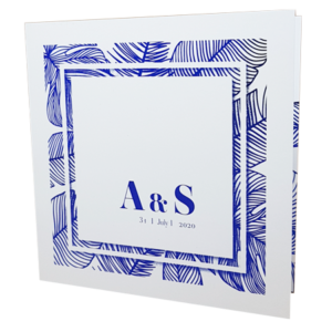Palm Tree White Invitation with Blue Foil