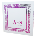 Palm Tree White Invitation with Pink Foil