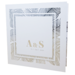 Palm Tree Classic Marble White Invite with Silver Foil