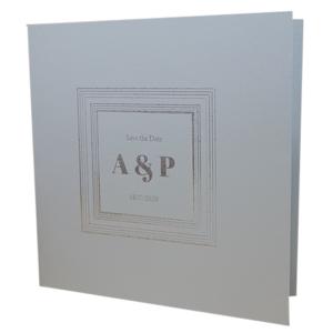 Square Real Silver Invitation with Silver Foil