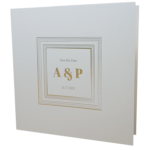 Square Real Silver Invitation with Gold Foil