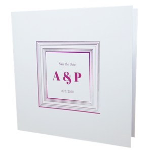 square white invite with pink foil