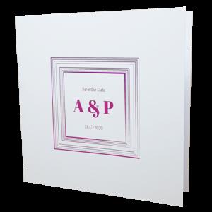 Square White Invitation with Pink Foil