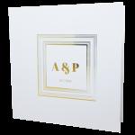 Square White Invitation with Gold Foil