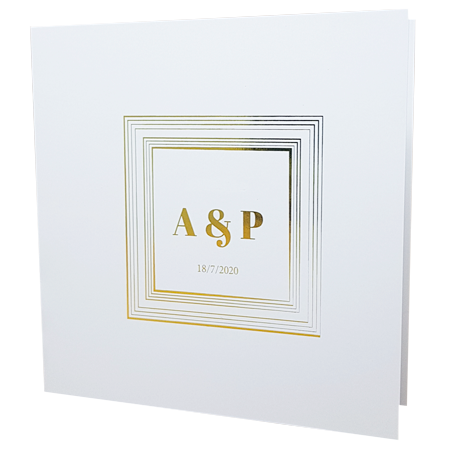 square white invite with gold foil
