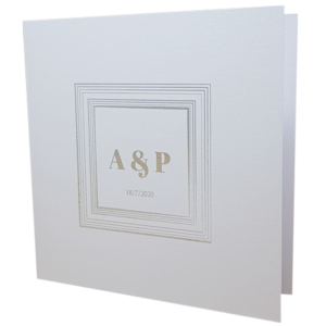 Square Marble White Invitation with Silver Foil