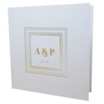 Square Marble White Invitation with Gold Foil