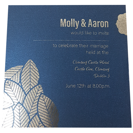 Majestic King Blue invitation with gold foil inner page
