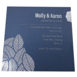 Floral King Blue Invitation with Silver Foil