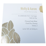 Floral Majestic Marble White Invitation with Gold Foil