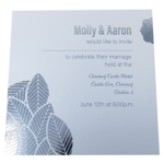 Floral Majestic Marble White Invitation with Silver Foil