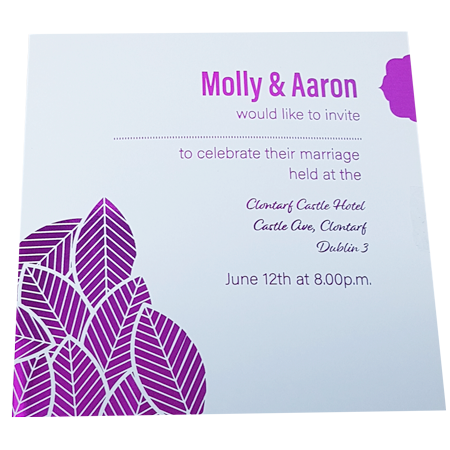 Floral White Invitation inner page with Pink Foil