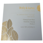 Floral Luxus Real Silver Invitation with Gold Foil
