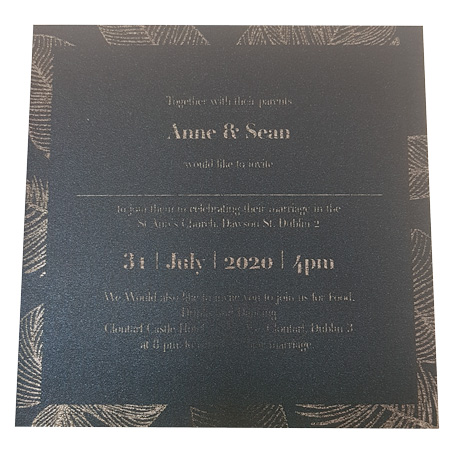 palm tree king blue silver foil inner invite
