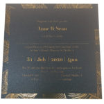 Palm Tree King Blue Invitation with Gold Foil
