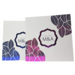 Floral White Invitation with Blue Foil