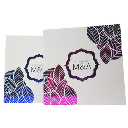 Blue and pink foiled white invite
