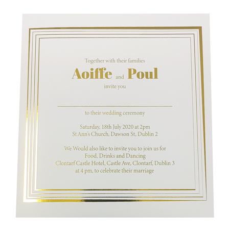 square white invite with gold foil inner page