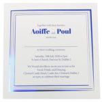 Square White Invitation with Blue Foil