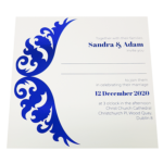 Royal White Invitation with Blue Foil
