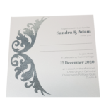Royal Marble White Invitation with Silver Foil