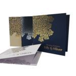 Oriental Majestic Marble White Invitation with Silver Foil