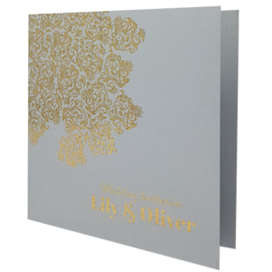 Oriental Real Silver Invitation with Gold Foil