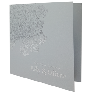 Oriental Real Silver Invitation with Silver Foil