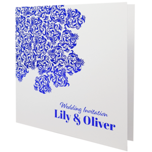 oriental white with blue foil invite