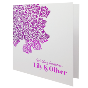 Oriental White Invitation with Pink Foil