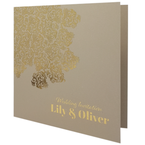 Oriental Majestic Sand Invitation with Gold Foil