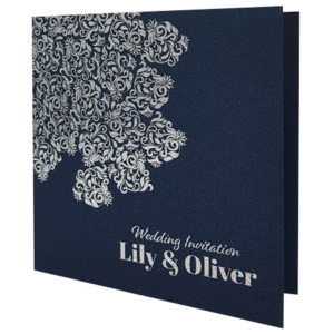 Oriental Majestic King Blue Invitation with Silver Foil