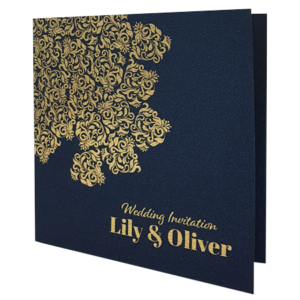 Oriental Majestic King Blue Invitation with Gold Foil