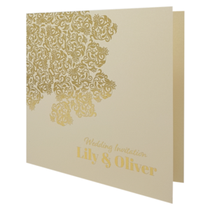 oriental candlelight invite with gold foil