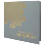 Oriental Majestic Moonlight Silver Invitation with Gold Foil