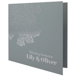 Oriental Majestic Moonlight Silver Invitation with Silver Foil