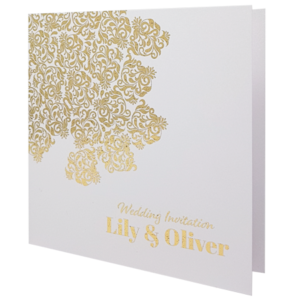 Oriental Majestic Marble White Invitation with Gold Foil