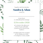 Green and Blue Folded Wedding Invite