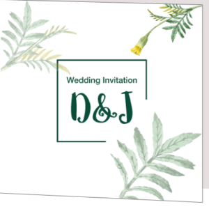 Dark Green Floral Folded Wedding Invite