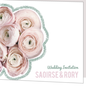 Floral Green and Pink Folded Wedding Invitation