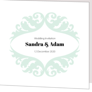 Light Green and White Folded Wedding Invite